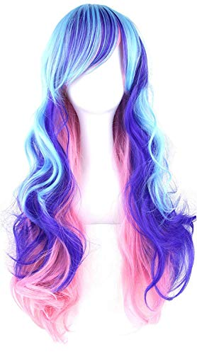 Topwigy Cosplay Wigs Rainbow Long Costume Curly Wave Ombre Colorful Hair Mermaid Wigs with Bangs Unicorn Bright Blue Wigs 32' (Multi-Color)