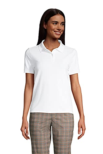 Lands' End Womens Short Sleeve Mesh Polo White Petite X-Large