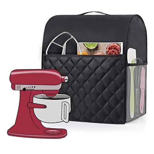 Luxja Staubschutz kompatibel mit KitchenAid Mixern, Staubschutz mit Griff für 6-8 Quart Standmixer und extra Zubehör, schwarz (gesteppter Stoff)