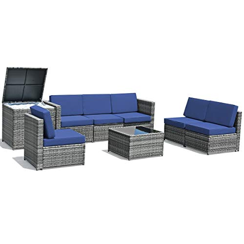 simplyUSAhello 8 Piece Wicker Sofa Rattan Dinning Set Patio Furniture with Storage Table (Navy)
