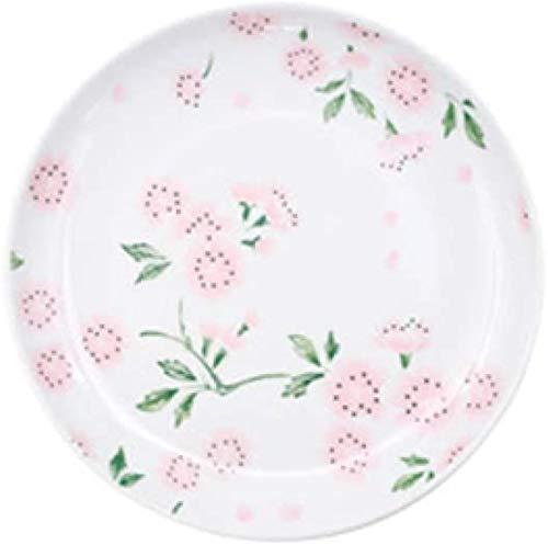 TREEECFCST Platos Vajilla De Estilo japonés de la Flor de Cerezo de cerámica de 10 Pulgadas (Color : Blanco, Talla : 26x3.5cm)