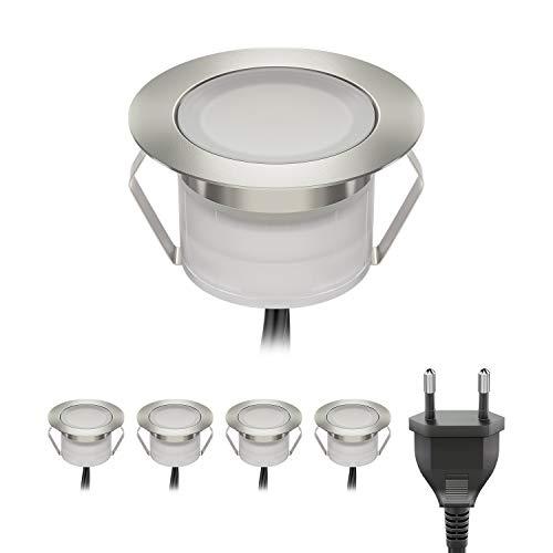 ledscom.de LED Tierra Luz empotrada BIMI para exterior blanco-cálido, 50lm cada uno, IP67, 45mm Ø Juego de 5