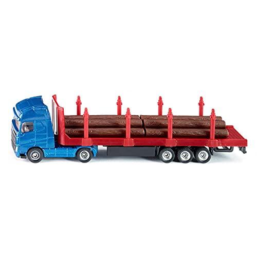 SIKU 1659, Camion per Trasporto Legname, 1:87, Metallo/Plastica, Blu/Rosso, con Tronchi d'Albero...