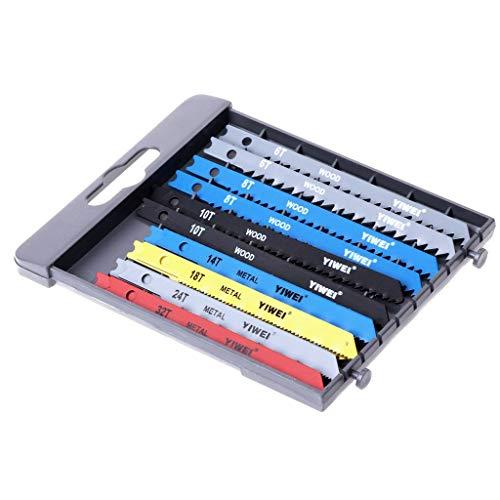 Iwinna 14 PCS Jigsaw Blades Set U Shank Fitting Jig Saw Metal Plastic Wood Blades