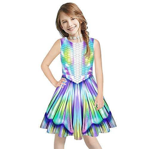 Mädchen Kleid Meerjungfrau Drucken Kleid Sommer Lose Ärmellose Print Holiday Cute A-Line Kleid Sommerkleid(7-12 Jahre,120-160cm)