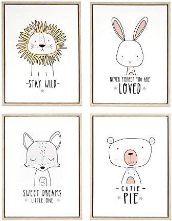 Maison Mia Framed Canvas Cute Sweet Animals Wall Art D cor Set of 4 12 x 16 in for Baby Toddler product image