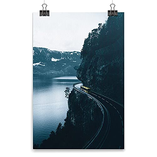 Camino en el acantilado, arte de pared, cuadro decorativo, cuadros enmarcados para sala de estar y dormitorio. (sin marco, 60 x 90 cm)
