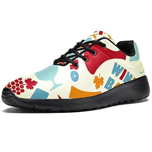 TIZORAX Sport-Laufschuhe für Herren, Retro-Weinglas-Bar, modische Sneaker, Netzstoff, atmungsaktiv, Wandern, Tennisschuh, Mehrfarbig - mehrfarbig - Größe: 42.5 EU