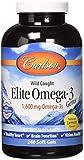 Carlson Elite Omega 3 Gems, 1600mg, Lemon Flavored, 240 Softgels