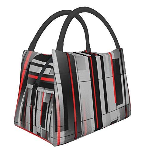 Tragbare Isolationstasche, abstrakt, grau, schwarz, rot, modisch, tragbar, Isolierung, Lebensmitteln, Picknick-Tasche, Tragetasche für Arbeit, Schule, Outdoor, Reisen usw.