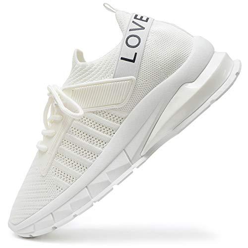 Vain Secrets Damen Sneaker Laufschuhe Sportschuhe Freizeit Schuhe Mesh Elastisch (Weiß M 4, 38)