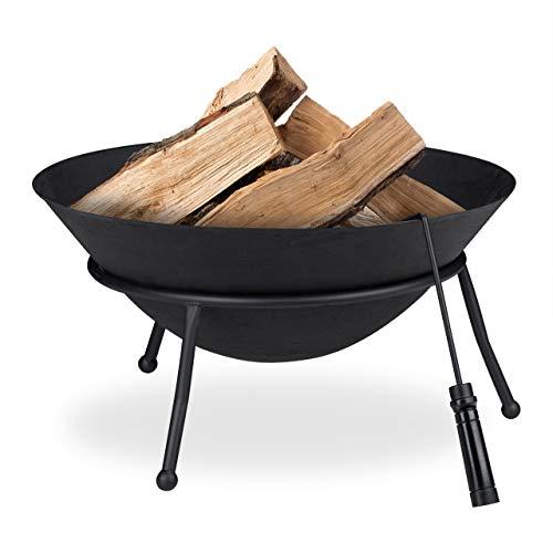 Relaxdays Feuerschale, Gusseisen, Garten Feuerstelle mit Schürhaken, Feuerschüssel Outdoor, H x D: 32 x 60 cm, schwarz