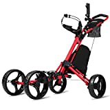 JANUS Golf Push Cart, Golf cart for Golf Clubs, Golf Pull cart for Golf Bag, Golf Push carts 4 Wheel Folding, Golf Accessories for Men Women/Kids Practice and Game