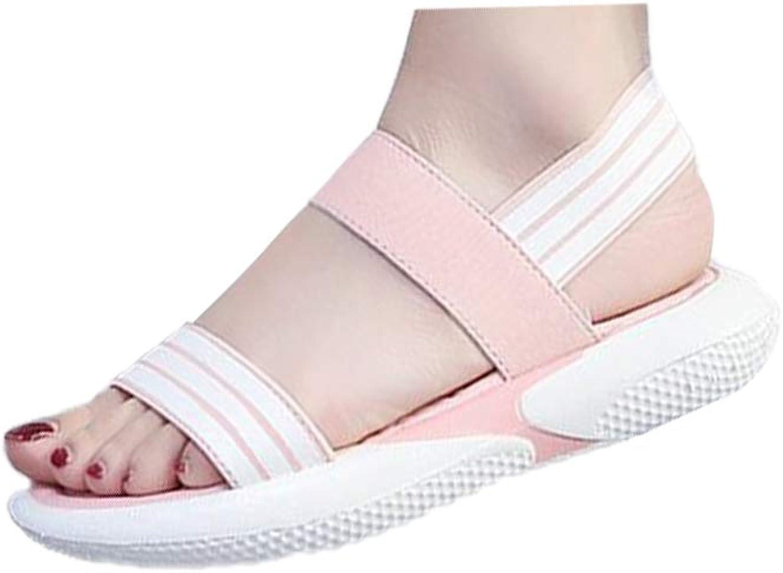 DBQWTY Summer Flat-Soled Ladies Comfortable Walking Classic Cloth Sandals
