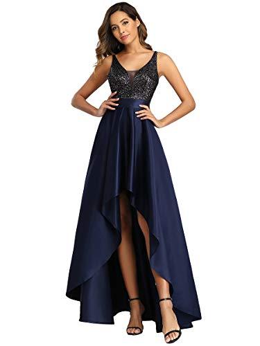 Ever-Pretty Women's V Neck Elegant A Line Hi-Low Empire Waist Satin Skirt Long Bridesmaid Dresses with Sequin Navy Blue 12UK