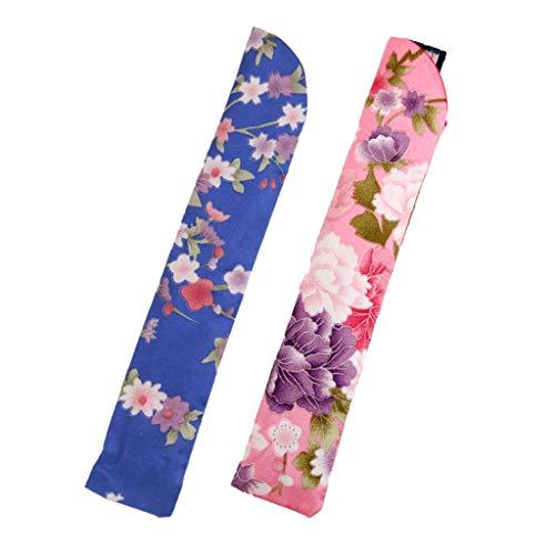 Harilla 2x Seidenhandventilatorhalter Taschenbeutel Taschenschutz für Klappventilator Pink, Blau