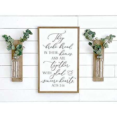 Kitchen Wall They Broke Bread In Their Homes Wood Sign Fall Wall Decor Dining Room Signs Hand Lettered Design Acts 2 46 Sign
