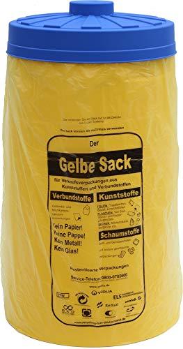 Will-Jeder Sacktonne gelb mit blauem Deckel für den gelben Sack Mülleimer Müllsackständer