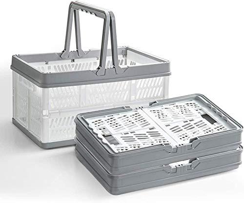Cesta de la compra plegable, pequeños contenedores de almacenamiento apilables, portátiles, apilables, con asas, utilizados para recoger frutas, organizar juguetes, maletero de coche, paquete de 3