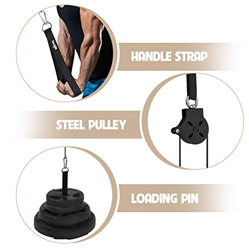 Product Image 2: Yes4All Cable Pulley Attachment Single Set – 2-inch Olympic Bars Compatible LAT Pulldown Pulley & Home Gym Pulley, A. Black – Single
