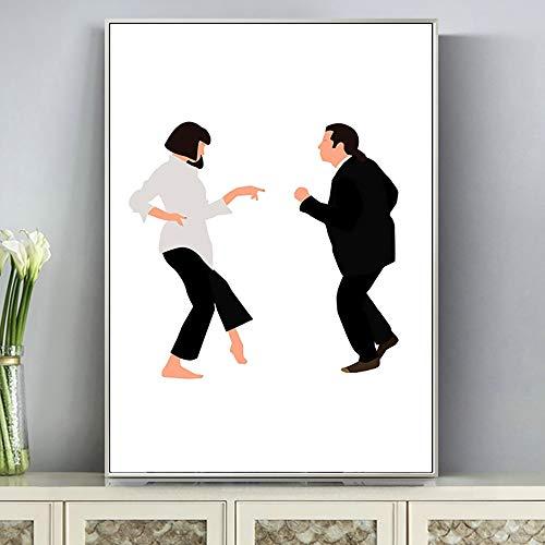supmsds Leinwand Bild Tanzendes Paar Filmplakat Poster Ölgemälde-Kunst Wandbilder