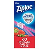 Ziploc Brand Slider Storage Gallon Bags with Power Shield Technology, (.60 Count (Pack of 1))