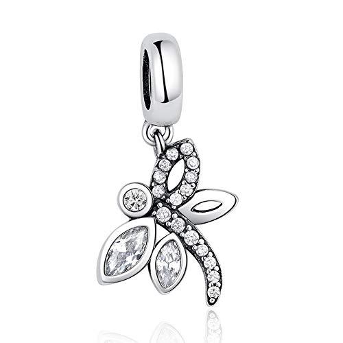 GaLon Encantos de Las Mujeres S925 Granos de la Plata de la libélula Colgante compatibles con Pandora y Pulseras Europeas Collares