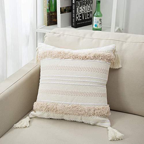 Funda Cojin Boho Funda Almohada Decorativo Cojin Moderna Funda de Almohada Tejida con Borla para sofá Coche Entrenador Dormitorio Sala de Estar 50cmx50cm (Crema)