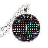 Collar de bola de espejo de discoteca, joyería de DJ colorido fiesta luz colgante collar de cristal cabujón joyería mujeres hombres encantos joyería accesorios