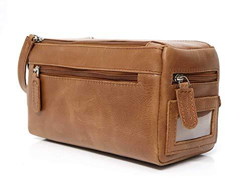 BlingSoul - Bolsa de aseo de cuero puro para mujer, bolsa de viaje, kits de afeitado, organizador de maquillaje cosmético, bolsa de ducha de baño, kit de tocador, regalos para hombres