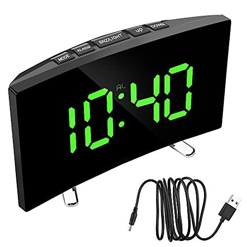 Fauge Reloj de Espejo Curvo Regulable de 7 Pulgadas con Pantalla LED Reloj Despertador Digital DecoracióN del Hogar Reloj de Mesa con NúMeros Grandes para Dormitorio