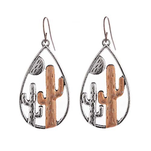 QiKun-Home Beautiful European And American Desert Cactus Pendant Earrings Annual Gift Female Jewelry Female Earrings silver+brown 5.4x2.5cm