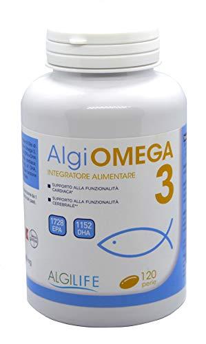 ALGIOMEGA OMEGA 3 | 120 cápsulas | Aceite de pescado 1600 mg, 432 EPA, 288 DHA | Vitamina E 5 mg. Apoyo a la función cardíaca y cerebral.