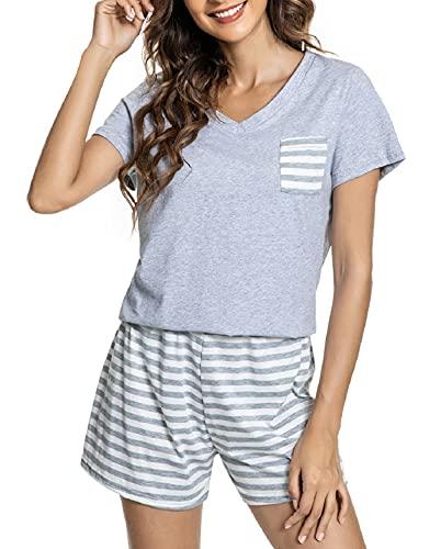 CMTOP Pijama Mujer Verano con Manga Corta Suave Cómodo Conjunto de Pijama Pijamas Mujer Verano Algodon Ropa de Camisetas Corta Pantalones