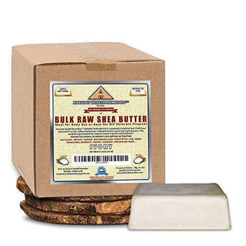 Organic Unrefined Raw AFRICAN IVORY WHITE SHEA BUTTER BLOCKS/JAR Bulk Size Grade A for Anti Aging Dry Skin Base for DIY Body Butter, Beauty. (Ghana) (10 LB)