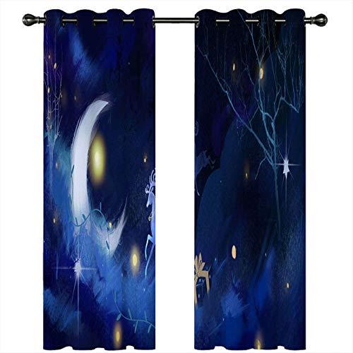 AMDXD Cortina Salon Poliester, Cortinas Dormitorio Opacas Luna y Ciervo con Estrella Cortinas Decoradas (2 Paneles, Azul Oscuro Blanco, Tamaños 214x274CM)