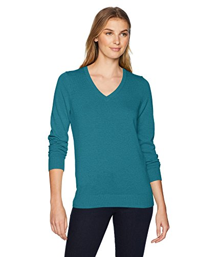 Amazon Essentials Women's Lightweight Long-Sleeve V-Neck Sweater, Teal Heather, Medium