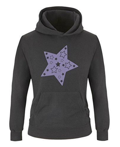 Comedy Shirts Comedy Shirts - Stern - Mädchen Hoodie - Schwarz/Violett Gr. 134/146