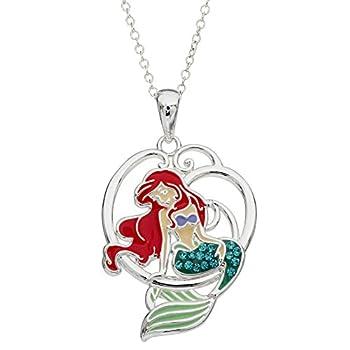 Disney Little Mermaid Ariel Silver Plated Crystal Pendant 18