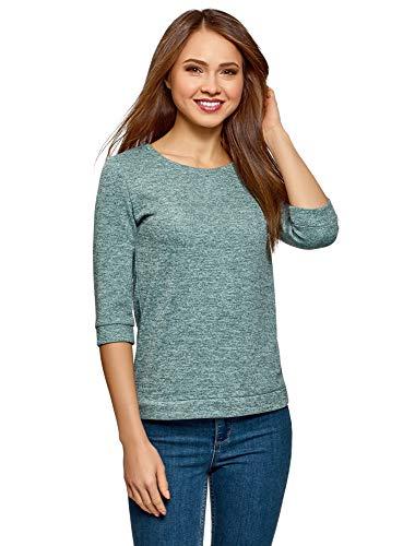 oodji Ultra Damen Sweatshirt mit Rundem Ausschnitt, 3/4-Arm und Lurex, Türkis, DE 38 / EU 40 / M