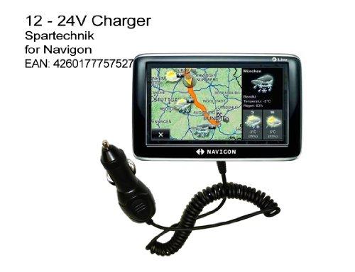 12V Autolader Navigon: KfZ Ladekabel für Navigon Serien 2400 2410 6310 8410 8450 Live 1410 1400 2500 2510 Autobild 40 70 Plus Easy Premium NAVIGON 20-90° abgewinkelter Spezialstecker 12-24 Volt