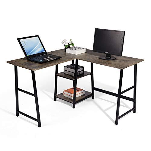 MEUBLE COSY Schreibtisch Winkelkombination Computertisch Eckschreibtisch L-förmiger PC-Tisch Bürotisch mit Regalebenen, Braun, 120x100x75cm