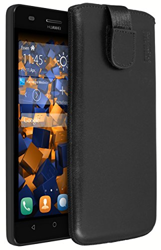 mumbi Echt Ledertasche kompatibel mit Huawei G Play Mini Hülle Leder Tasche Hülle Wallet, schwarz