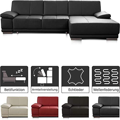 CAVADORE Schlafsofa Corianne / Eckcouch mit Bettfunktion und beidseitiger Armteilverstellung / 282 x 80 x 162 / schwarz