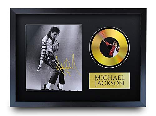 HWC Trading - Immagine con autografo A3 FR Michael Jackson MJ The King of Pop Gifts con Immagine a Disco Dorato per i Fan della Musica, Formato A3