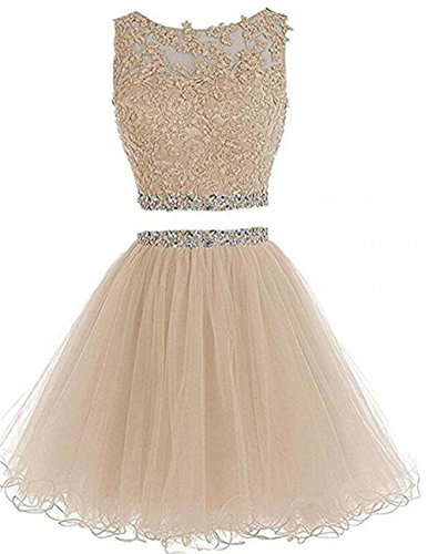 Chugu Women's Short Prom Dress 2 Piece Homecoming Dresses Appliques Cocktail Party Gown C8 Champagne 2