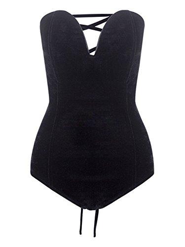 Choies Women's Black Bandeau Plunge Lace up Back Velvet Bodysuit L