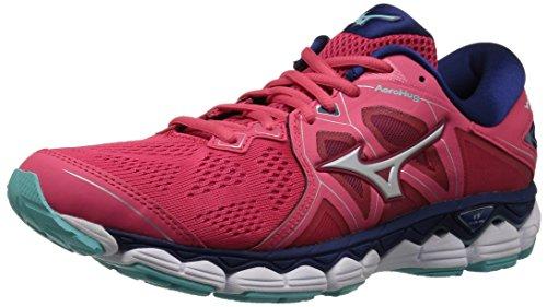Mizuno Women's Wave Sky 2 Running Shoe, Teaberry/Blue Depths, 7 B US