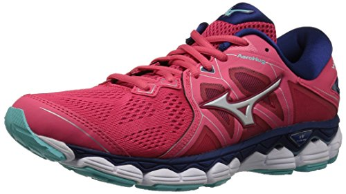 Mizuno Women's Wave Sky 2 Running Shoe, Teaberry/Blue Depths, 8 B US