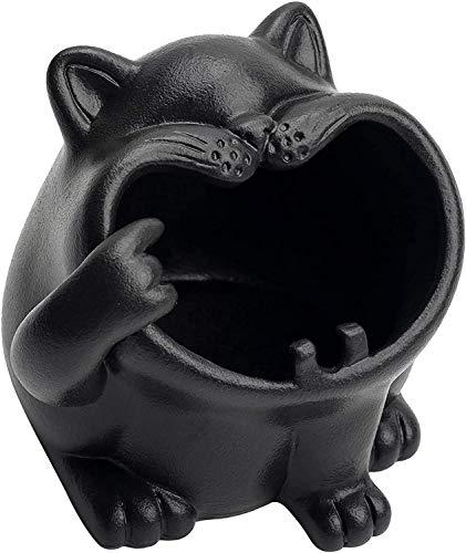 TEAYASON Ceniceros de Cerámica Animal Lindo para Cigarrillos, Soporte de Ceniza de Gato de Dibujos Animados Al Aire Libre para Decoración de Encimera de Oficina en Casa